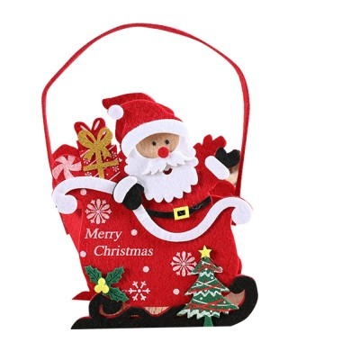 Portable Christmas Candy Cookie Apple Nougat Handbag Non-Woven Fabric Santa Pattern Carrying Bag with Hanging Pendant for Snacks