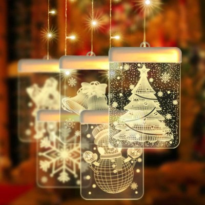 USB Powered Snowman Elk Christmas 3D Sign Light Holiday Window Ceiling Wall Hanging Fairy Lighting LED String Curtain Fairy Lamp