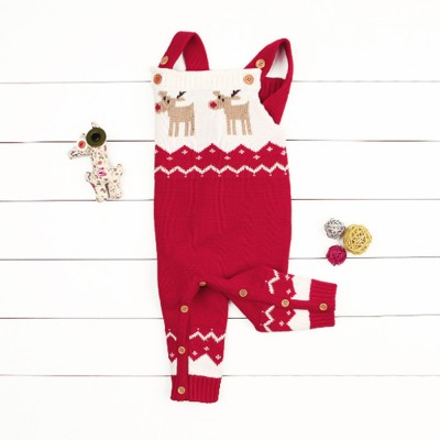 Children's Giraffe Jumpsuit Sweater for Christmas New Year Autumn and Winter Sweater Baby Creeper Cartoon Sling Jumpsuit for Boys and Girls