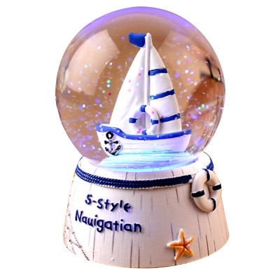 Mini Sailing Lighthouse Crystal Ball LED Base 3D Crystal Ball Night Light with Stand 5 Colors Change for Kids Baby Bedroom Decor Birthday Gift Snow Global Musical Box