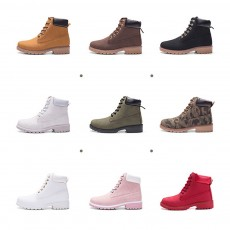 PU Leather Ankle Boots Fashionable Casual Mid-Up Martin Boots with Round Toe for Men and Women Couple Boot