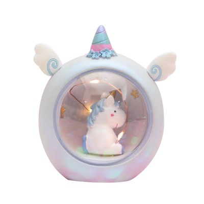 Fairy Unicorn Snow Globe Night Light for Kids Girls Granddaughters Babies Birthday Gift Pretty Creative LED Unicorn Crystal Ball Lamp