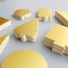 Delicate Golden Waterproof Non-toxic Mousse Cake Paper Pad Dessert Baking Accessories Round Square Triangle Rectangle 10PCS