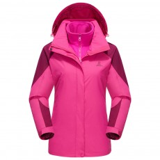 Windproof Outdoor Jackets Waterproof 3-in-1 Jackets for Men and Women with Detachable Cap and Quality Zipper