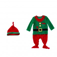 Christmas Elf Costume Green One-Piece Unisex Costume for 0-2 Baby with Long Sleeves and Cute Hat 2pcs
