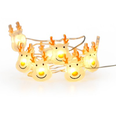 RAREVAY Elk Shaped Lamp String LED Color Lamp for Christmas Decoration Party Copper Lamp String