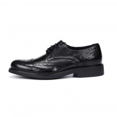 Men's Business Leather Shoes Breathable Wing-tipped Shoes with Rubber Soles Sturdy Shoelaces and Euramerican BROGUE