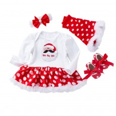 Long Sleeve Boutique Children Clothing Red White Polka Dot Ruffle Baby Dresses Christmas Girl Clothing Girls Dress