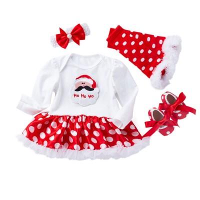 Long Sleeve Boutique Children Clothing Red White Polka Dot Ruffle Baby Dresses Christmas Girl Clothing Girls Dress