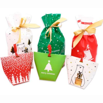 60pcs Cookie Bags for Gift Giving Christmas Treat Boxes Unique Decorative Treat Bags Reusable Craft Boxes for Presents Candies Cookies Bundle Xmas Theme Gift Wrapping Bags Great Holiday