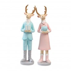 Christmas Ornament Resin Deer Home Decoration Cute Cartoon Couple Lover Deer Household Decor for Living Room Bedroom