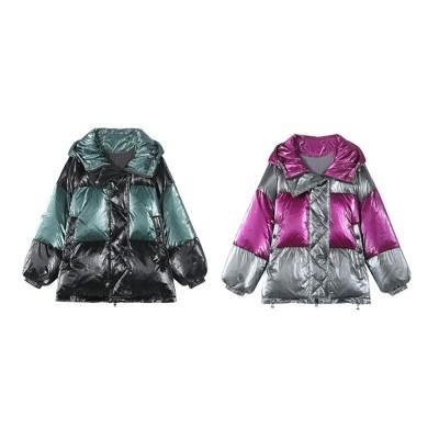 ELFSACK 2019 NEW Splicing Glossy Down Jacket for Women Winter Wear Loose Down Coat Fashion Down Jacket