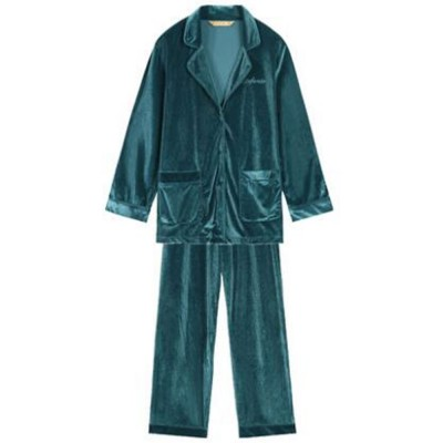 ELFSACK Practical Two-piece Loungewear Suit for Lady Wear Embroidered Velvet Pajamas with Waistband Sexy Thin Nightclothes
