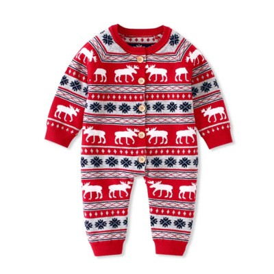 Christmas One-Piece Bodysuit for Baby Long Sleeve Cardigan Jumpsuits with Classic Round Collar and Ribbed cuffs for Boys and Girls