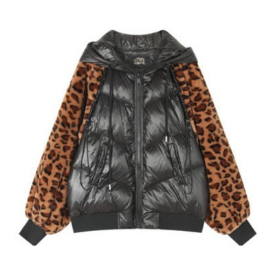 ELF SACK Classic Leopard Print Down Jacket for Women Winter Wear Thickened Splicing Hoody Down Coat Thermal Down Jacket