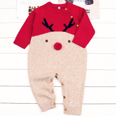 Cute Carton Elk Pattern Decoration Christmas New Year Sweater One-pieces Jumpsuits for Boy Girl Children Infants