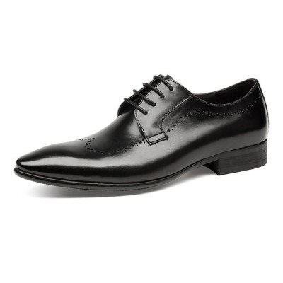 Males Vintage Stylish Minimalist Business Shoes Man Pointy Pint-tipped Leather Shoes with Anti-skid Rubber Sole