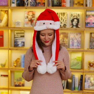 Warm Plush Christmas hat Christmas Gift Santa's Hat with Movable Beard XMAS Gift