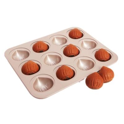 Chefmade 12 Cup Chestnut Cake Mold Non Stick Cake Mold Baking Plate Baking Mold Golden