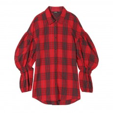 ELF SACK Plaid Shirt for Women Retro Style Women's Shirt New Korean Student Bubble Sleeve Top 2019 New