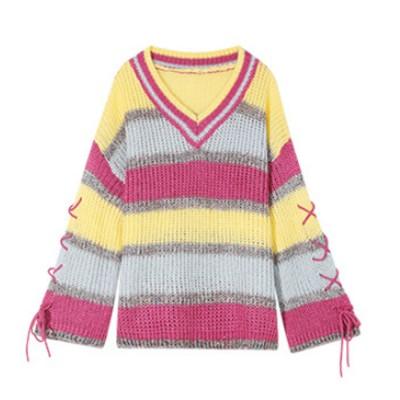 ELF SACK Macaroon Stripe Sweater New Autumn 2019 Women's Loose Outer Wear Pullover Lazy Knitwear