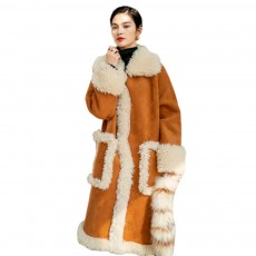 Fake Fur Long Coat for Women Wear Imitated Lamb Wool Great Coat Autumn Winter 2019
