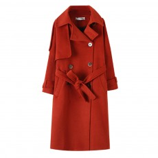 Fine Stripe Woolen Coat Retro Style Wool Cloth Overcoat for Women Wear Trending Nipped Waist Wool Jacket Red