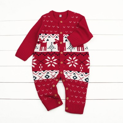 Baby Cartoon Christmas New Year Sweater One-pieces Jumpsuits for 1-3 Years Boy Girl Children Infants
