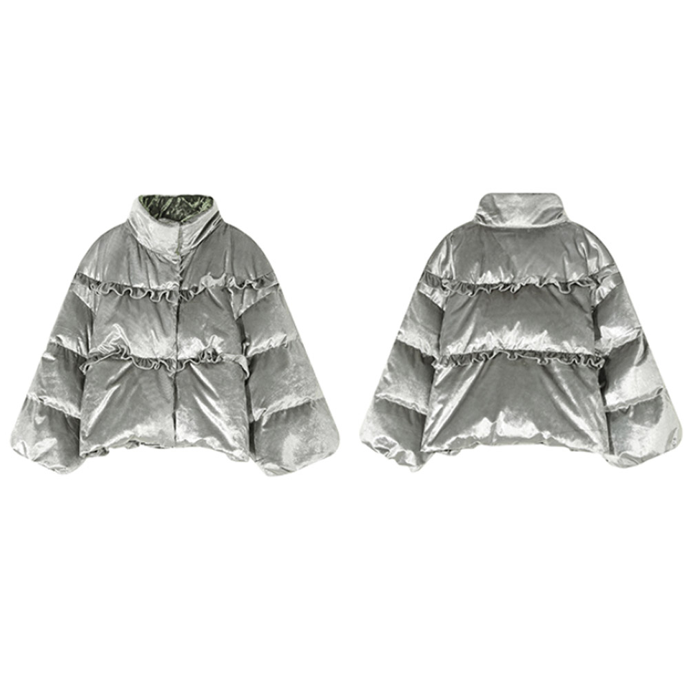 ELFSACK New Fashion Women Glossy Short Silver Down Jackets Without Hooded Coat Parka Jacket Warm Winter Jackets for LADY GIRL Gift