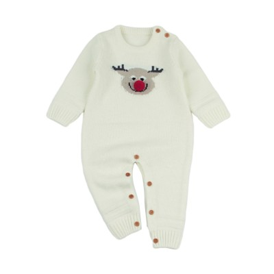 Cute Cartoon Christmas Hat Elk Pattern Decoration Jumpsuit Christmas New Year Sweater One-pieces Jumpsuits for Boy Girl Children Infants