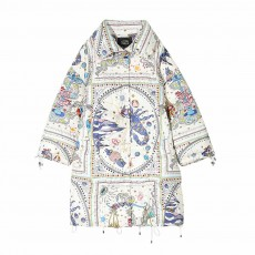 ELFSACK Autumn Winter New Women's Cotton Printed Graffiti Scorpio Cotton Coat Down Jacket With Hooded Fur Collar
