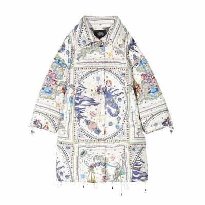 ELFSACK Autumn Winter New Women's Cotton Printed Graffiti Scorpio Cotton Coat Down Jacket With Hooded Fur Collar