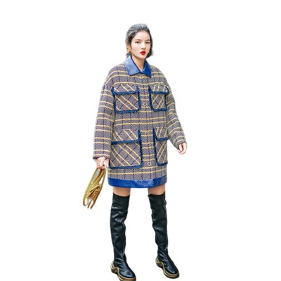 Grid Frock Coat Thickened Loose Great Coat for Women Wear New Style Cotton Clothes Autumn Winter 2019