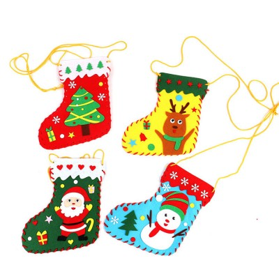 5PCS Set Handmade Christmas Stockings DIY Craft Christmas Tree Santa Snowman Elk Stockings for Kids Education and Christmas Decoration