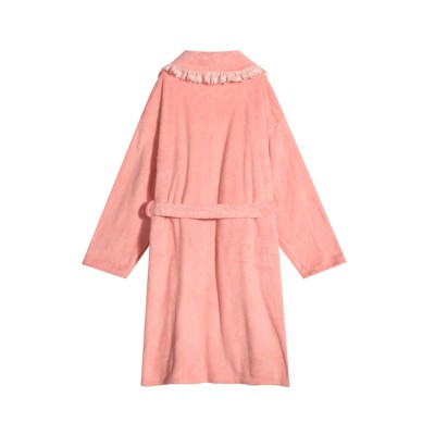 ELFSACK Women's Mid-Length Bathrobe Soft 100% Polyester Sleepwear with Ruffled Lace Neckline and Waistband Pure Color Night Cloth for Women