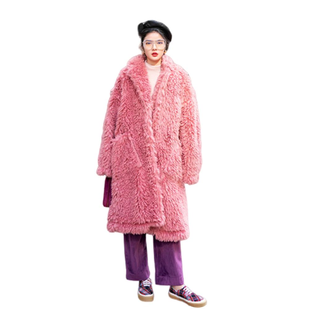 2019 Women's Woolly Cotton Coat Fleece Coat Warm Cardigan Coat with Pockets Loose Medium Long Windbreaker for Lady Pink