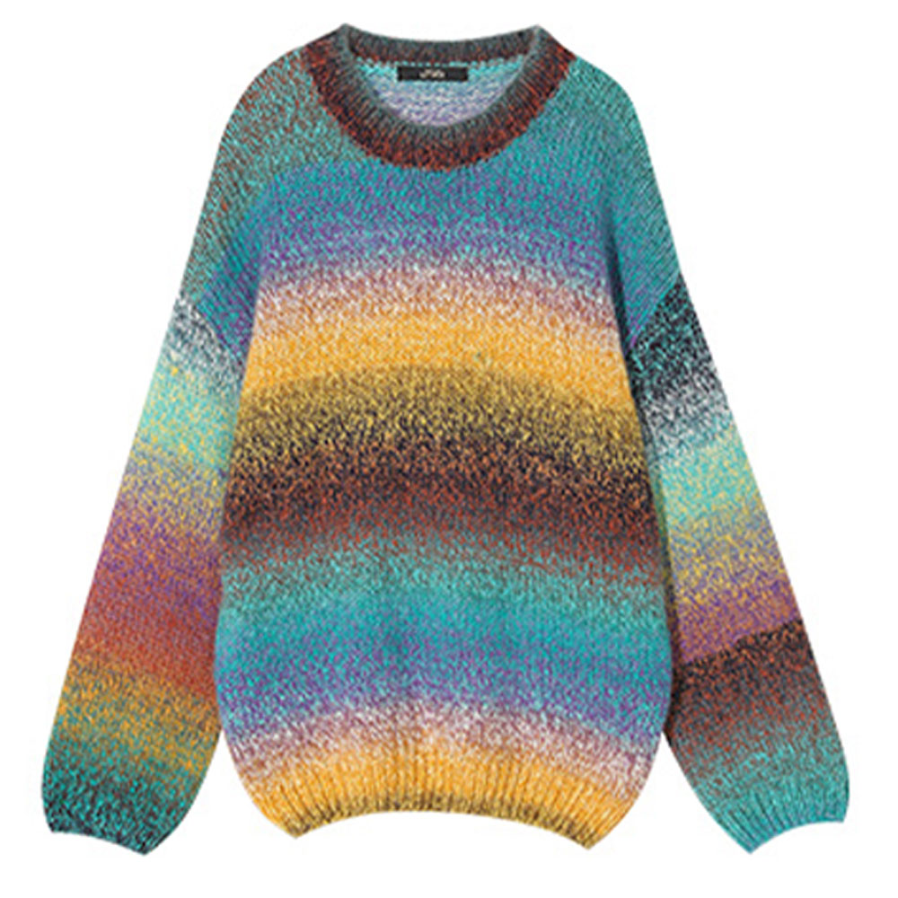 ELFSACK Blue Childhood Rainbow Stripe Knitwear Women's Loose Sweater with Round Neck and Long Sleeves for Autumn and Winter