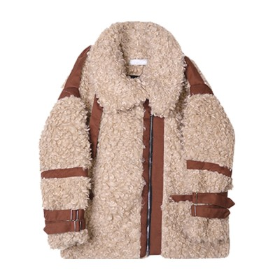 Women Lamb Wool Coat Short Cardigan Thick Spliced Lamb Coat with Long Sleeves for Autumn and Winter