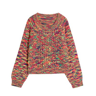 ELFSACK Rainbow-Colored Knitwear Lightweight Pullover Round Neck Sweater for Women in Autumn and Winter