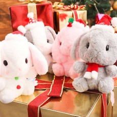 Cute Christmas Rabbit Plush Toy Children Christmas Gift Holiday Decoration Soft Rabbit Doll Toys 4 Colors