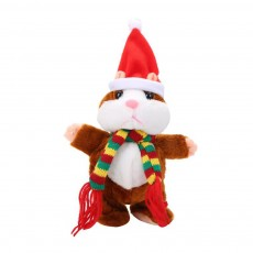 Cute Christmas Intelligent Hamster Model Electric Plush Stuffed Toy Walking Speaking Household Ornament Children Doll