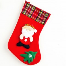 Top Selling Design Stocking Christmas Decorations Fabric Plaid Santa Claus Christmas Socks Gift Bag