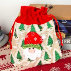 Delicate Cute Portable Carton Elk Santa Claus Pattern Decoration Christmas Drawstring Bag Candy Storage Hand Bag
