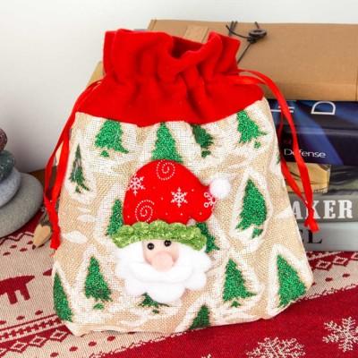 Delicate Cute Portable Carton Elk Santa Claus Pattern Decoration Christmas Drawstring Bag Candy Storage Hand Bag