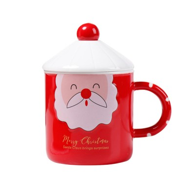 Santa Claus Ceramic Cup for Gifts Family Use Creative Mug with Spoon Easy to Clean and Safe Water Cup Christmas Gift