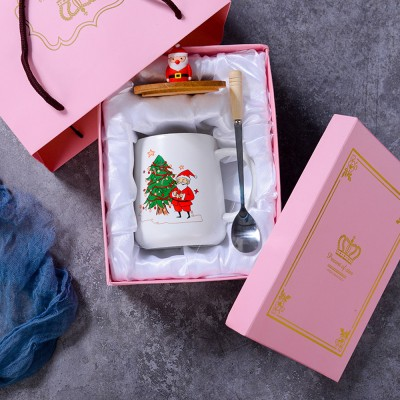 Christmas Gift Mug Set for Family Use Office Use Creative Ceramic Cup with Spoon Large Capacity Water Cup Christmas Present Box Package 2 Pack