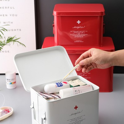 Nordic Style Medicine Chest for Family Use Layered Tinplate Medicine Storage Box Portable Large Capacity Metal Medicine Kit