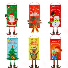 Non-woven Christmas Flag Windows Decoration Christmas Banners for Home Showcase with Hang Stripe for Merry Christmas