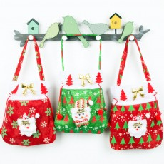 Christmas Gift Santa Claus' Candy Bag for Christmas Day Present Velveteen Handbag with Gold Decoration Three Patterns