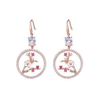 CAROMAY Palace Style Plum Blossom Earrings Trendy Plume Tassel Hoops for Women Flower Hanging Earrings with Asymmetric Design